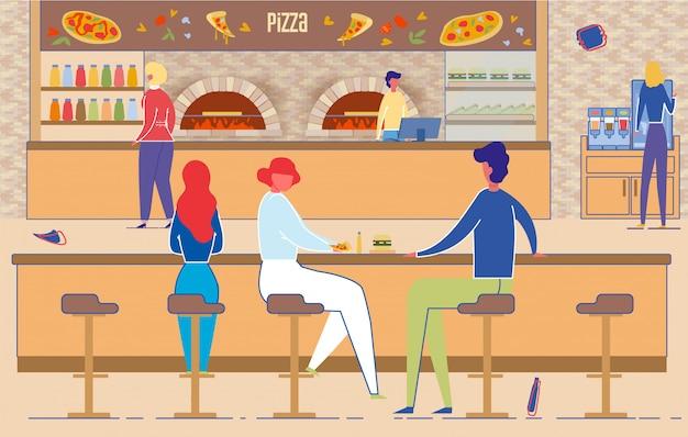 Mężczyzna i kobieta jedzą pizzę w pizzerii. wnętrze z piecem, krzesłem, stołem, bankomatem na ladzie. spotkanie ludzi we włoskiej kawiarni ilustracja. fast food, lunch, szybka dostawa