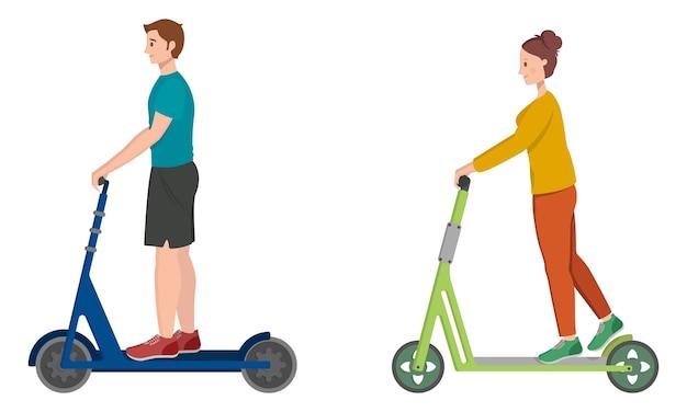 Mężczyzna i kobieta jeżdżą na skuterach elektrycznych. postacie męskie i żeńskie w stylu cartoon.