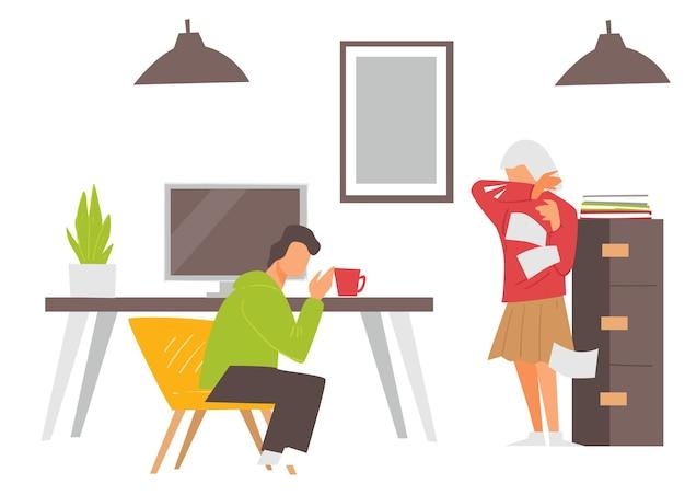 Mężczyzna i kobieta kaszel lub kichanie w biurze, chory mężczyzna i kobieta w biurze. postacie z objawami koronawirusa, reakcja alergiczna na alergeny. wektor sytuacji epidemicznej w płaskim stylu
