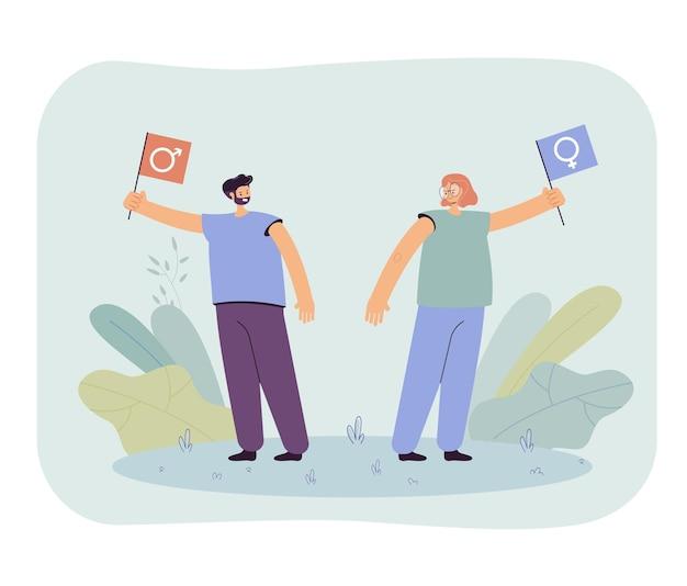 Mężczyzna i kobieta kłócą się o ilustrację