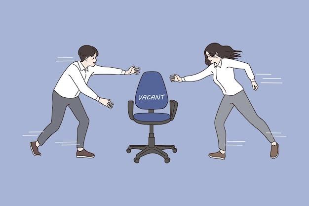 Mężczyzna i kobieta konkurują o wolne stanowisko biurowe