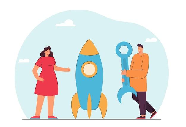Mężczyzna i kobieta, konstruując rakietę z narzędziem. płaska ilustracja