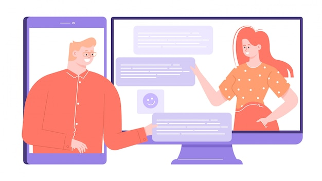 Mężczyzna i kobieta korzystają z komunikatora internetowego, aby komunikować się, spotykać, dyskutować o interesach. wieloplatformowa usługa mobilna i internetowa. jasne kolorowe płaskie ilustracja.