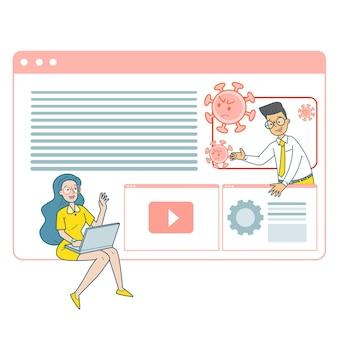 Mężczyzna i kobieta korzystają z konferencji online, aby zapobiec infekcji