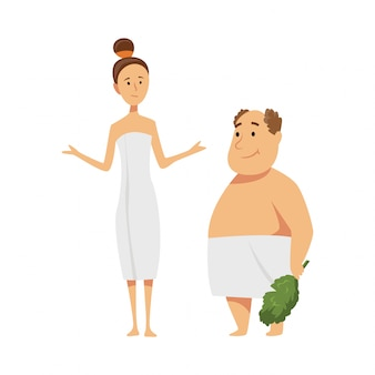Mężczyzna i kobieta korzystających z zabiegów w saunie