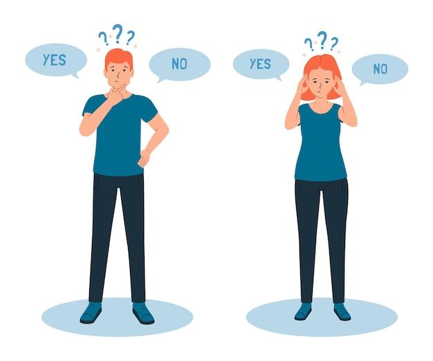 Mężczyzna i kobieta mają poczucie wątpliwości, że trudno jest dokonać właściwego wyboru tak lub nie