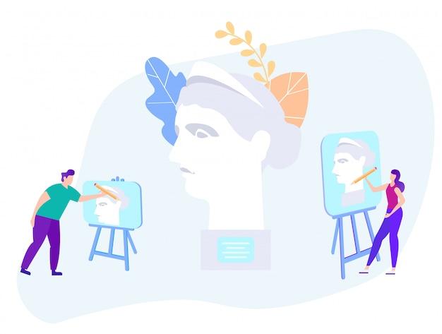 Mężczyzna i kobieta maluje na sztalugi statui