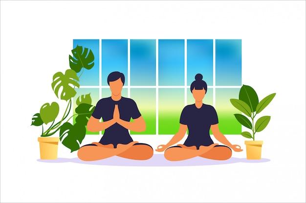 Mężczyzna i kobieta medytują siedząc na podłodze w pozycji lotosu, a kobieta ćwiczy jogę. wellness i zdrowy styl życia w domu. ilustracja.
