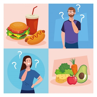 Mężczyzna i kobieta myślą, co jeść