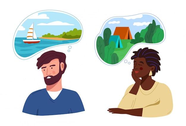 Mężczyzna i kobieta myślą lub marzą o podróżowaniu