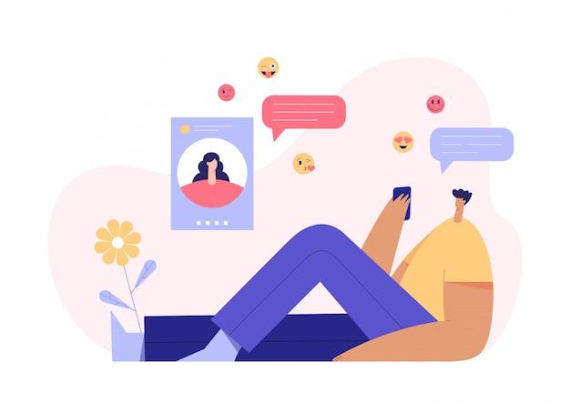 Mężczyzna i kobieta na czacie koncepcja, nowoczesny profil postaci na wyświetlaczu i emoji w tle. aplikacja randkowa online. płaska ilustracja.