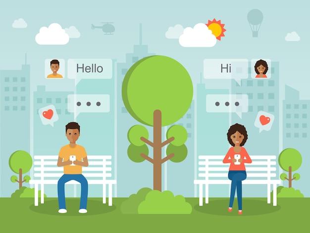 Mężczyzna I Kobieta Na Czacie Online W Sieci Społecznościowej Z Smartphone. Premium Wektorów