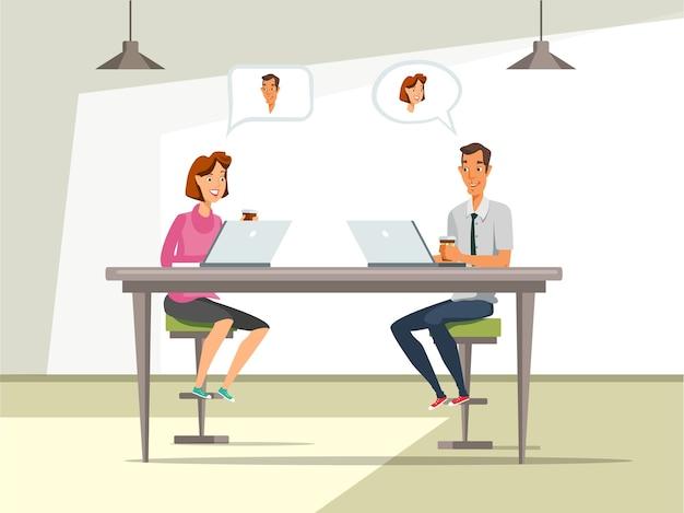 Mężczyzna i kobieta na ilustracji rozmowa kwalifikacyjna.