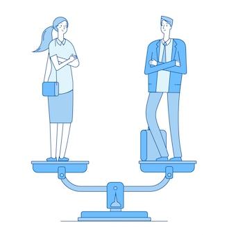 Mężczyzna i kobieta na skali w równowadze
