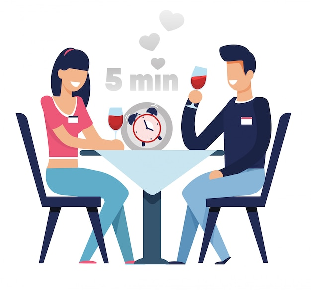 Mężczyzna i kobieta na szybkie randki w kreskówce 5 minut