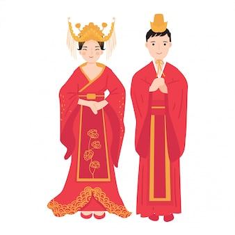 Mężczyzna i kobieta noszą tradycyjny strój chiński