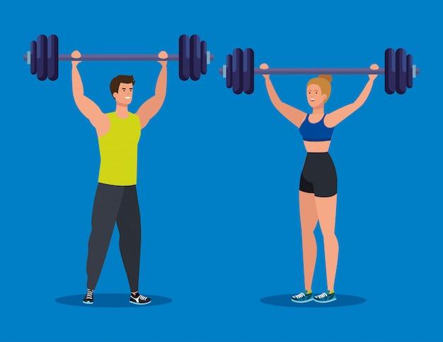 Mężczyzna i kobieta o wadze do zdrowej aktywności