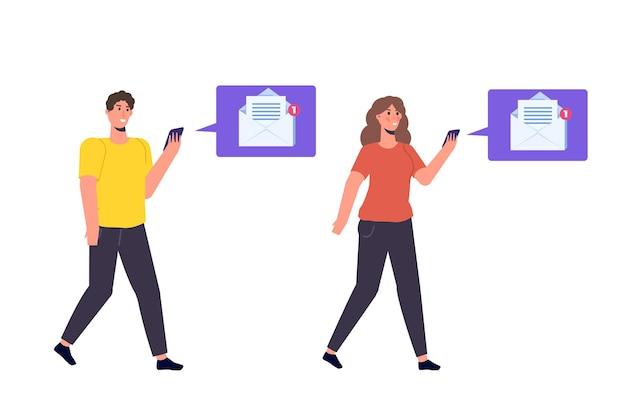 Mężczyzna i kobieta odbieranie poczty ze smartfona. ilustracja
