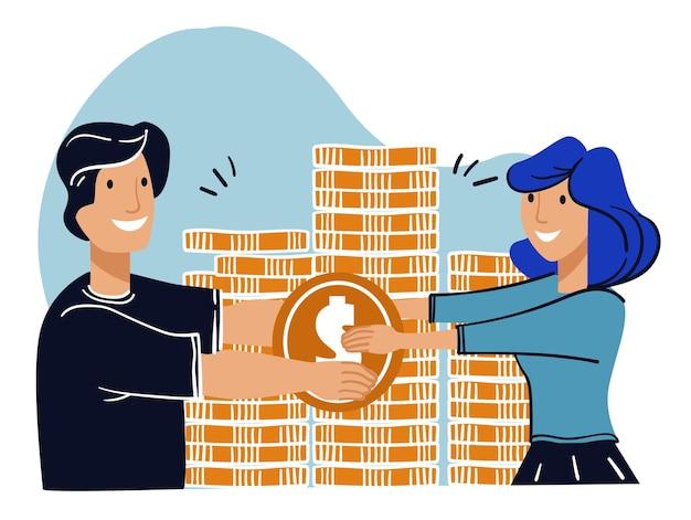 Mężczyzna i kobieta oszczędzająca pieniądze para z monetami