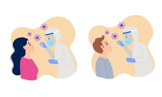 Mężczyzna i kobieta otrzymują test wymazu pcr w celu wykrycia choroby covid19 płaski wektor kreskówka projekt