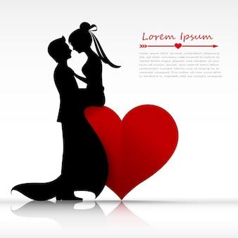 Mężczyzna i kobieta para całuje z miłości sylwetka