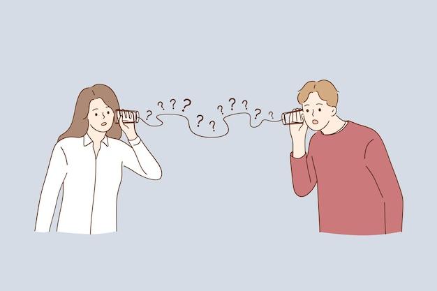 Mężczyzna i kobieta para postaci z kreskówek, które mają problemy z komunikacją