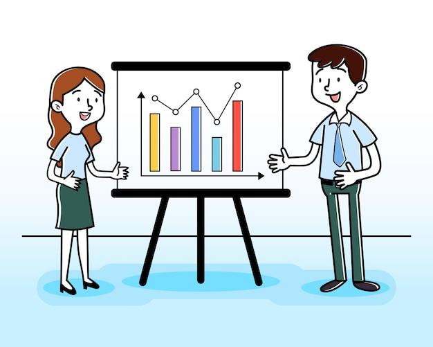 Mężczyzna i kobieta prezentacje ilustracja danych wzrostu gospodarczego