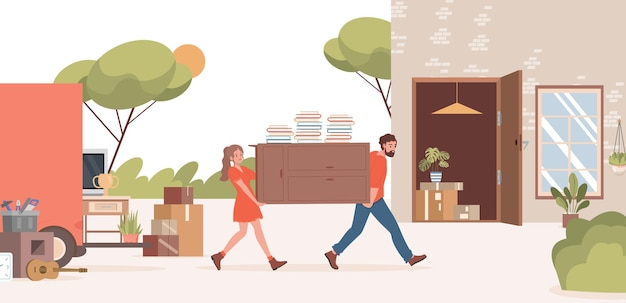 Mężczyzna i kobieta przeprowadzają się do nowej płaskiej ilustracji podmiejskiego domu