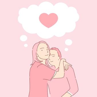 Mężczyzna i kobieta przytulanie ilustracji. historia miłości, walentynki kartkę z życzeniami lub szablon aplikacji randkowej.