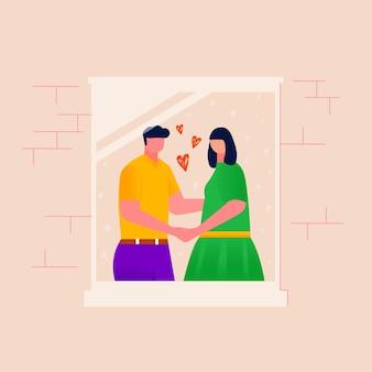 Mężczyzna i kobieta razem spędzać czas, para w otwartym oknie z murem. szczęśliwa rodzina relaksująca, tańcząca, słuchająca muzyki. mąż i żona rozmawiają. ilustracja wektorowa romantycznego związku