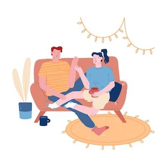 Mężczyzna i kobieta razem w weekendowy wieczór