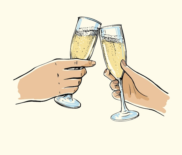 Mężczyzna i kobieta ręce z kieliszkami szampana