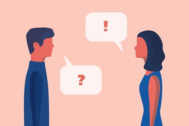 Mężczyzna i kobieta rozmawiają o sieci społecznościowej. za
