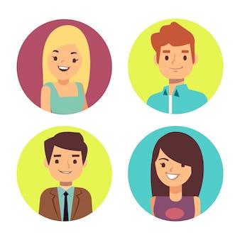 Mężczyzna i kobieta są zadowoleni z awatarów na czaty lub forum