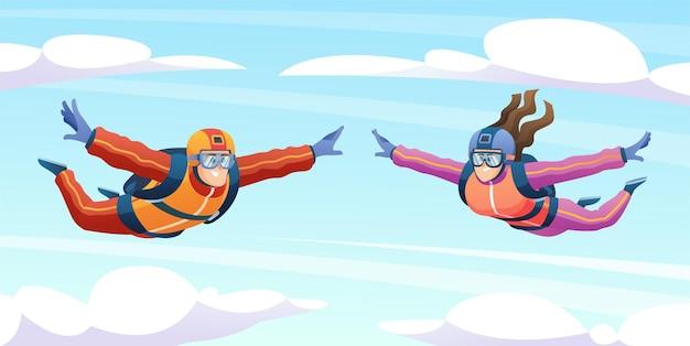 Mężczyzna i kobieta skaczą ze spadochronem na ilustracji nieba