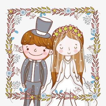 Mężczyzna i kobieta ślubna rama z roślinami opuszcza