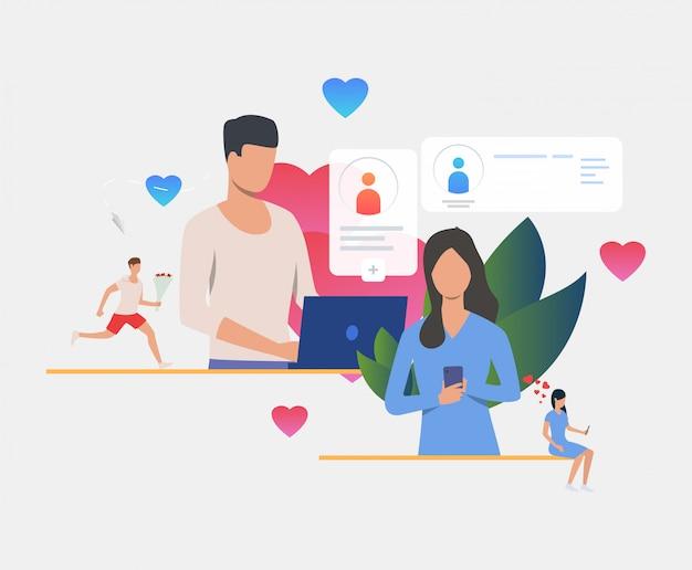 Mężczyzna i kobieta sms-y wiadomości na laptopie i smartfonie