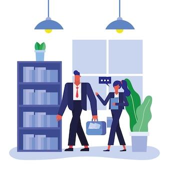 Mężczyzna i kobieta spaceru w biurze projektowania, siły roboczej obiektów biznesowych i motyw korporacyjny
