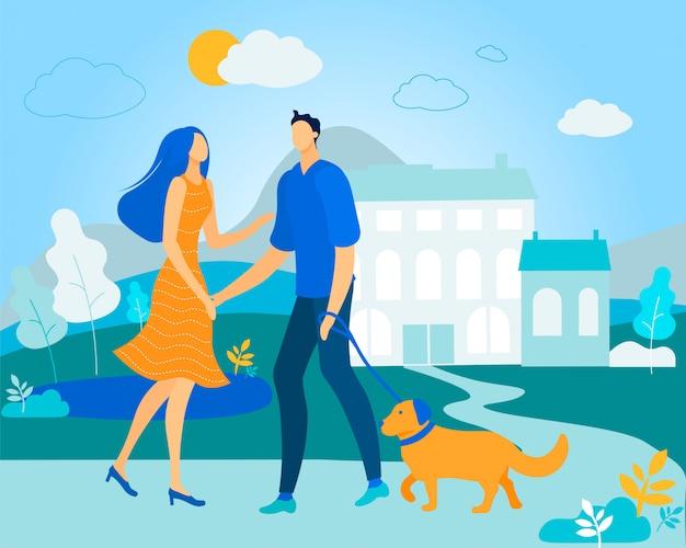 Mężczyzna i kobieta spaceru z psem na zewnątrz w lecie