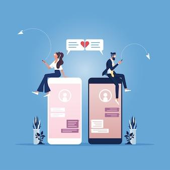 Mężczyzna i kobieta spotykają się, korzystając z aplikacji do dopasowywania par na telefon komórkowy, komunikacja relacji społecznych
