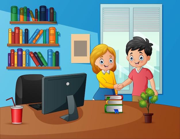 Mężczyzna i kobieta spotykają się w pracy ilustracja