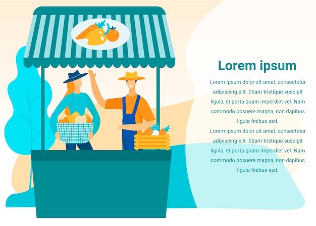 Mężczyzna i kobieta sprzedają warzywa na rynku. wektor.