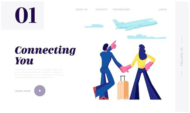 Mężczyzna i kobieta stoją w terminalu lotniska, czekając na lot, oglądając lecący samolot przez okno. letnie wakacje, strona docelowa dla miesiąca miodowego, strona internetowa. ilustracja wektorowa płaski kreskówka