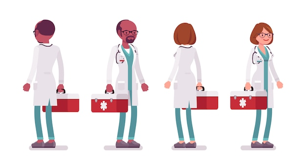Mężczyzna i kobieta stojący lekarz