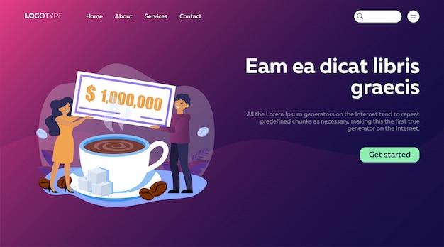 Mężczyzna i kobieta trzyma milion rachunku nad filiżanką kawy