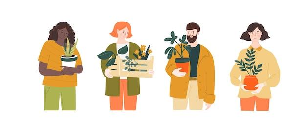 Mężczyzna i kobieta trzymają rośliny domowe w różnych doniczkach. zielone hobby, ilustracja stylu życia miejskiej dżungli. śliczne postacie z krytym tropikalną botaniką.