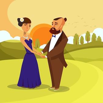 Mężczyzna i kobieta trzymając się za ręce postaci z kreskówek.
