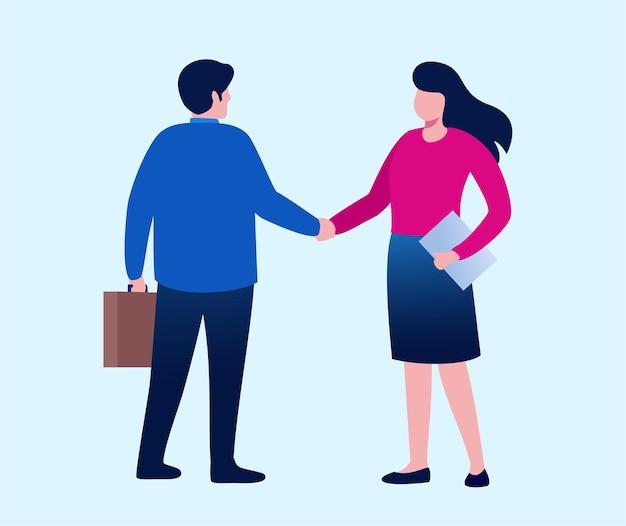 Mężczyzna i kobieta uścisk dłoni reprezentują partnerstwo. koncepcja umowy. płaska ilustracja wektorowa