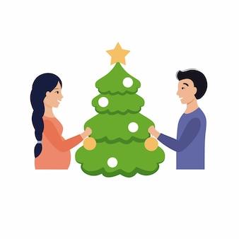 Mężczyzna i kobieta w ciąży dekorują choinkę. mąż i żona świętują nowy rok. ilustracja wektorowa w stylu płaski.