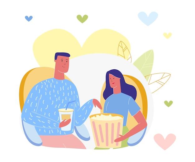 Mężczyzna i kobieta w domu, oglądanie telewizji, zwiedzanie kina